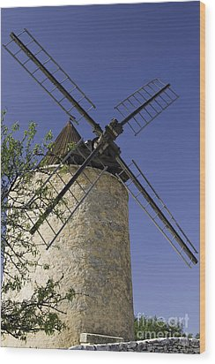 French Moulin Wood Print by Bob Phillips