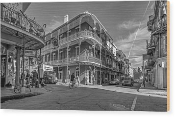 French Quarter Afternoon Bw Wood Print by Steve Harrington