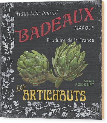 French Veggie Labels 1 Wood Print by Debbie DeWitt