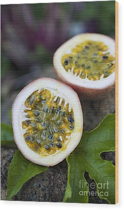 Fresh Cut Lilikoi Fruit Wood Print by Charmian Vistaunet