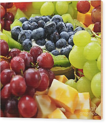 Fresh Fruits And Cheese Wood Print by Elena Elisseeva