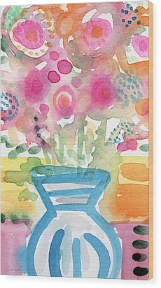 Fresh Picked Flowers In A Blue Vase- Contemporary Watercolor Painting Wood Print by Linda Woods