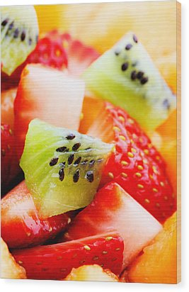 Fruit Salad Macro Wood Print by Johan Swanepoel