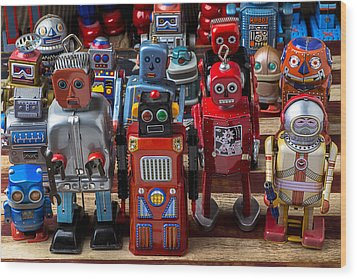 Fun Toy Robots Wood Print by Garry Gay