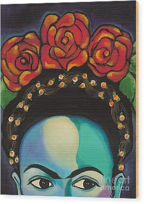 Funky Frida Wood Print by Carla Bank