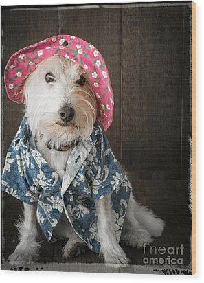 Funny Doggie Wood Print by Edward Fielding