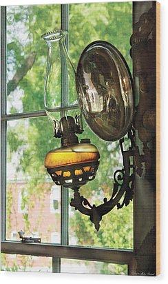 Furniture - Lamp - An Oil Lantern Wood Print by Mike Savad