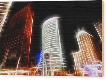 Futuristic Buildings In Berlin Potsdamer Platz Digital Art Wood Print by Matthias Hauser