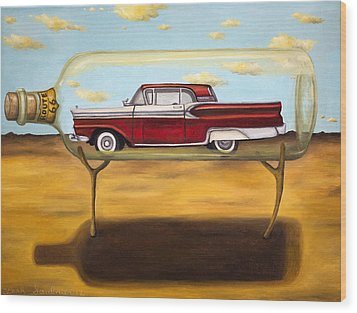 Galaxie In A Bottle Wood Print by Leah Saulnier The Painting Maniac