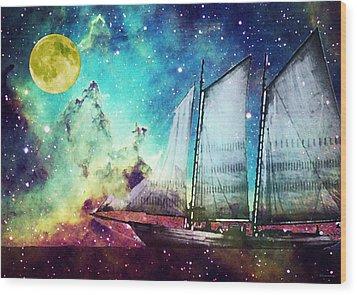 Galileo's Dream - Schooner Art By Sharon Cummings Wood Print by Sharon Cummings