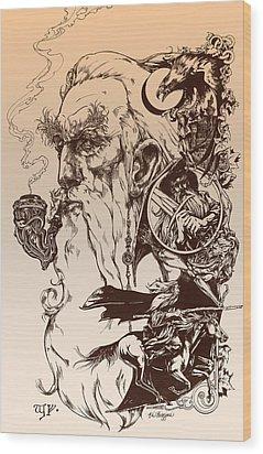 gandalf- Tolkien appreciation Wood Print by Derrick Higgins