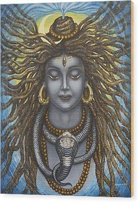 Gangadhara Shiva Wood Print by Vrindavan Das