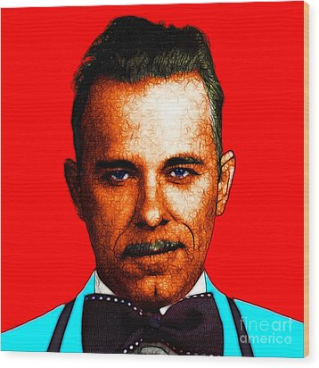 Gangman Style - John Dillinger 13225 - Red - Color Sketch Style Wood Print by Wingsdomain Art and Photography