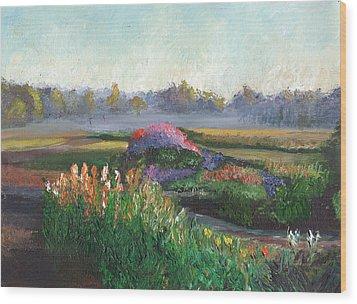 Garden At Sunrise Wood Print by William Killen