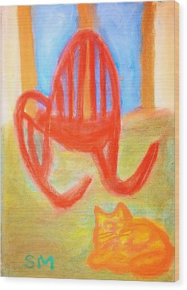 Garfie Rocking Chair And The Sky Wood Print by Sylvia Masri