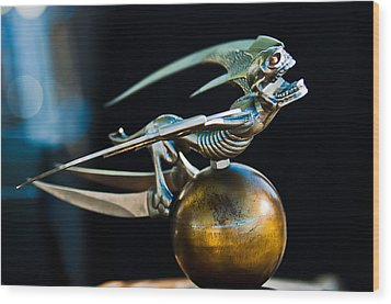Gargoyle Hood Ornament Wood Print by Jill Reger