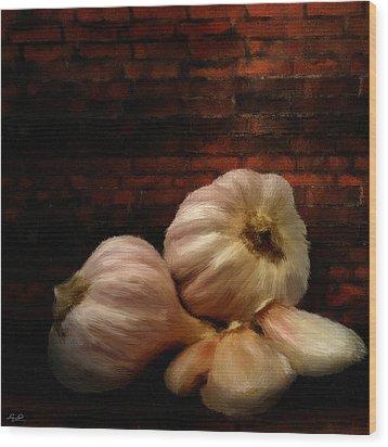 Garlic Wood Print by Lourry Legarde