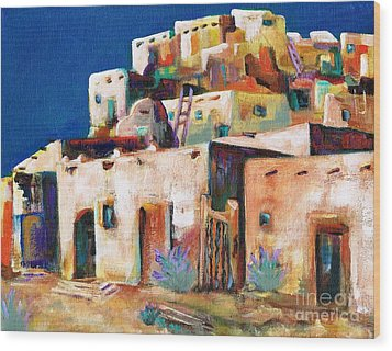 Gateway Into  The  Pueblo Wood Print by Frances Marino
