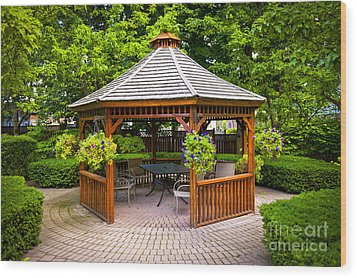 Gazebo  Wood Print by Elena Elisseeva