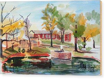 Gazebo Pond And Duck II Wood Print by Kip DeVore