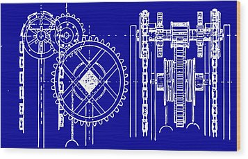 Gears Blueprint Wood Print by