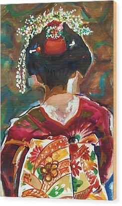 Geisha Girl Wood Print by Therese Fowler-Bailey