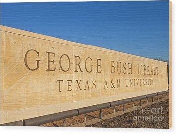 George H. Bush Library, Texas Wood Print by Bill Bachmann