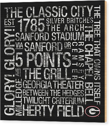 Georgia College Colors Subway Art Wood Print by Replay Photos