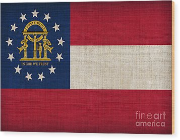 Georgia State Flag Wood Print by Pixel Chimp