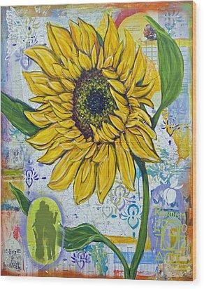 Georgia Sunflower Wood Print by Random Act aka Andrea LaHue