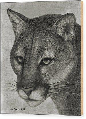 Ghost Cat Wood Print by Miki Krenelka