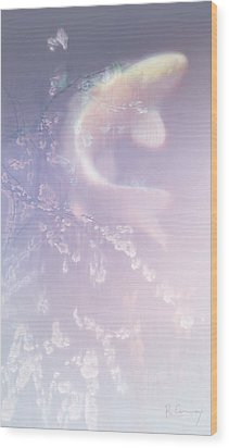Ghost Koi Rising Wood Print by Robert Conway