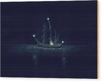 Ghost Ship Wood Print by Laurie Perry