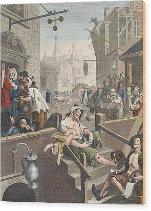Gin Lane, Illustration From Hogarth Wood Print by William Hogarth
