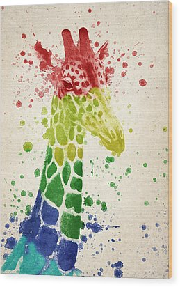 Giraffe Splash Wood Print by Aged Pixel
