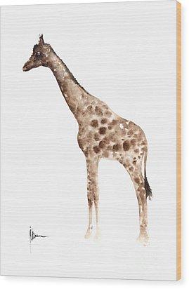 Giraffe Watercolor Art Print Painting African Animals Poster Wood Print by Joanna Szmerdt