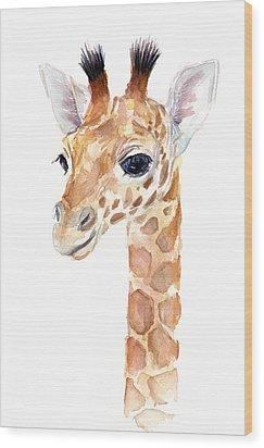 Giraffe Watercolor Wood Print by Olga Shvartsur