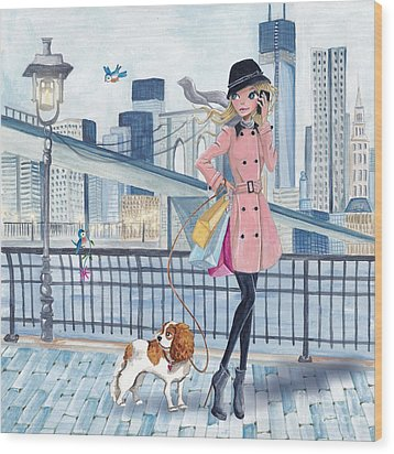 Girl In New York Wood Print by Caroline Bonne-Muller