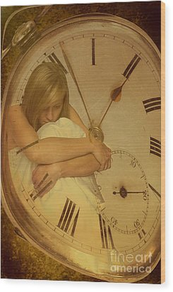Girl In White Dress In Pocket Watch Wood Print by Amanda Elwell