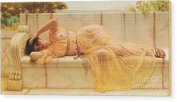 Girl In Yellow Drapery Wood Print by Pg Reproductions