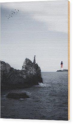 Girl On Cliffs Wood Print by Joana Kruse