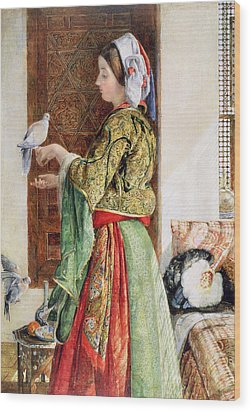 Girl With Two Caged Doves, Cairo, 1864 Wood Print by John Frederick Lewis
