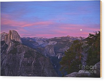 Glacier Point With Sunset And Moonrise Wood Print by Cassie Marie Photography