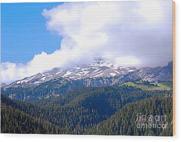Glaciers In The Clouds. Mt. Rainier National Park Wood Print by Connie Fox