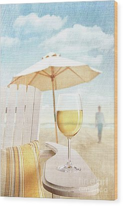 Glass Of  Wine On Adirondack Chair At The Beach Wood Print by Sandra Cunningham
