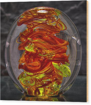 Glass Sculpture - Fire - 13r1 Wood Print by David Patterson