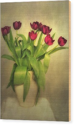 Glowing Tulips Wood Print by Annie Snel