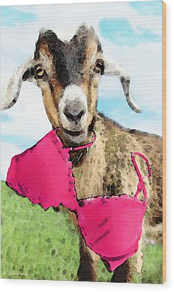 Goat Art - Oh You're Home Wood Print by Sharon Cummings