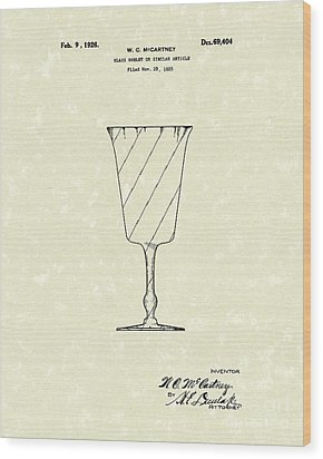 Goblet 1926 Patent Art Wood Print by Prior Art Design
