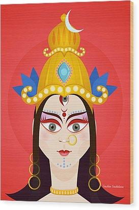 Goddess Maa Durga Wood Print by Sachin Sachdeva